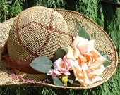 HAND MADE PLAID SEA GRASS STRAW HAT WITH PEACH TEA ROSE AND PINK WILD ROSES MADE IN MICHIGAN AND SOLD AT THE ANN ARBOR FARMERS MARKET