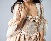 Peaches and Cream Striped Victorian Rococo dress size sm