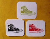 Converse style sneaker hand carved rubber stamp