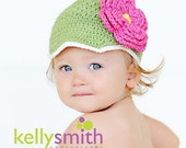 12 to 24 Months Newsgirl Beanie with Flower - Light Sage Green, Eggshell, Hot Pink, Yellow