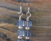 Light Blue Cubes and Silver Earrings