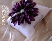 Eggplant Dahlia Ring Bearer Pillow