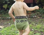 Green Organic Argyle Diaper Soaker Shortie for Toddlers