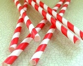25 Paper Straws - Red Stripe
