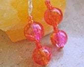 Adriana Sizzling Sterling Earrings Hot Pink and Orange Color Change