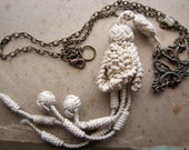 milkmaid - salvage necklace- antique cord tassel and escutcheon keyplate