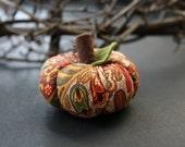 autumn paisley stuffed pumpkin fabric decoration