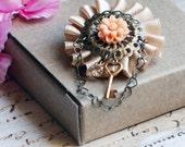 Charlotte Brooch - Wheat and Peach Flower - Heart Chain