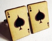 Ace of spades vintage style playing card silver cufflinks in FREE gift box