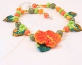 GARDENS - artisan lampwork glass, turquoise, mother of pearl, jasper NECKLACE