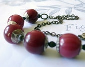 tin and brass necklace - copper cream and cranberry