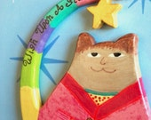 YEAR END SALE Fridge Magnet Fat Cat Boy in Pajamas - Wish Upon A Star