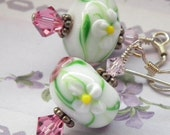 White Flower Lampwork Crystal Earrings