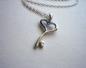 Sterling silver key to the heart necklace