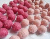 Felt Beads/ Balls, light and dark watermelon, set of 20