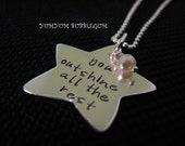 HANDSTAMPED STERLING SILVER STAR DISC PENDANT NECKLACE WITH MINI PEARL ACCENT