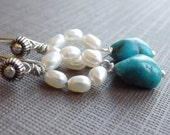 Sunrise on the Lake Turquoise and Pearl Sterling Silver Earrings