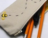 Wee Bee Zippered Pouch.  Pencil Case.  EpiPen Carrier.