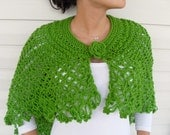 Shipping Included- Hand Knitted Shawl, Capelet, Poncho Pistachio Green,Natural