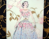Peggy Card / Vintage Printed Collection / 50s Glamour Girl / Handmade Greeting Card