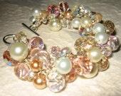 Sparkling PINK CHAMPAGNE, Peach, Honey, White, Ivory Pearl Crystal Cluster Beach Wedding Bangle Bracelet, OOAK  Hand Knit, Sereba Designs