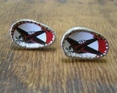 Cufflinks, silver, recycled tin. Red aeroplanes.