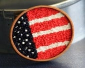 American Flag Hand Embroidery Brooch Colonial Knots Red White Blue