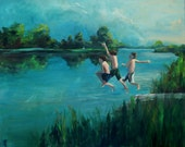 Boys  of Summer - Original Painting - 24x30 - gallery wrapped canvas