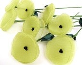 Handmade flowers with stems- set of 3 pcs- PEAR GREEN (as seen in BRIDES magazine)
