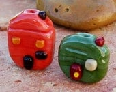 SALE - MI CASA - Handmade Lampwork Miniature Home Beads