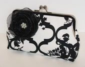 Black And White Trellis Silk Lined Clutch