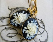 Black and Ivory Rose Cameo Earrings