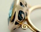 Midnight blues - 14K rose gold ring inlaid sky blue qz .