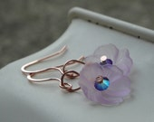 ON SALE Purple Pansy Earrings