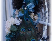 Peacock Elegance bridal bouquet plus Boutonniere