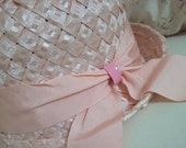 Shabby Romantic Pink Vintage Hat w/ Grosgrain Millinery Ribbon