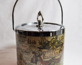 Vintage map of the world ice bucket