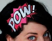 Comic pow embroidered headband hair decoration Shocking pink and white