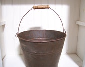 Vintage Metal Rusty Bucket with Wooden Handle, Farm House Chic