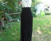 80's White Lace and Green Crushed Velvet Prom Dress by Dave and Johnny Size 8