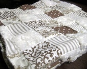 Brown and Cream with Minky Cuddle Quilt 42 x 36 inch