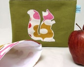 Sandwich and Snack Bag Set - Olive Green Squirrel
