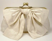 Luxury Big Bow Clutch in Cream Silk