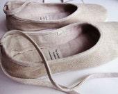 Eco-Chic Handmade Vegan Ballerina Flats Linen in Beige - 901A