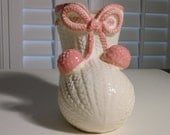 Vintage 1950s Ceramic Baby Bootie Planter Pink and Cream