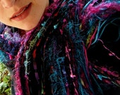 Everything Goes with Black Scarf, Fringe O Rama with 90 Strands in Black, Purple, Turquoise, Teal, Pink, Magenta and More
