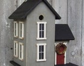 New 2010 - Birdhouse Primitive Country Farm House Black and Cape Cod Gray 3 unit