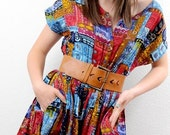 Vintage 80s ETHNIC Print Cotton Boho Gauze Playsuit 1pc Jumper Culotte Dress S M