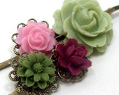 Hair Pins Flower Green Pink Maroon Bridal . APPLE BERRY - Free Shipping