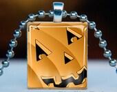 Scrabble Tile Pendant . Jack O Lantern 0745 . BUY 3 GET 1 FREE